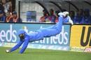Dinesh Karthik completes a catch, New Zealand v India, 1st T20I, Wellington, February 6, 2019