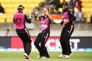 Amelia Kerr celebrates a wicket, New Zealand v India, 2nd women's T20I, Auckland, February 8, 2019