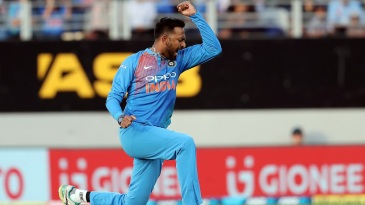 Krunal Pandya celebrates a wicket