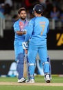 Rishabh Pant and MS Dhoni congratulate each other, New Zealand v India, 2nd T20I, Auckland, February 8, 2019