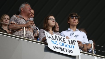 A poster referring to the #MeToo movement at Eden Park on Friday