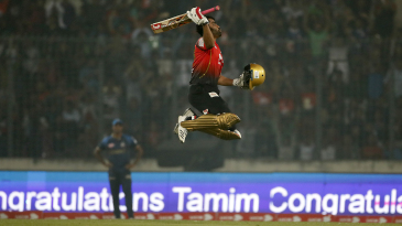 Tamim Iqbal is ecstatic after scoring a hundred in the BPL final