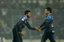 Shakib Al Hasan and Sunil Narine celebrate a wicket, Dhaka Dynamites v Comilla Victorians, BPL 2018-19, final, Dhaka, February 8, 2019