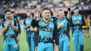 Brendon McCullum takes a lap of honour in his final home game in the BBL