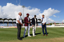 Kraigg Brathwaite of West Indies tosses the coin alongside Joe Root of England, West Indies v England, 3rd Test, St Lucia