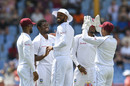 Keemo Paul and West Indies celebrate the dismissal of Keaton Jennings of England, West Indies v England, 3rd Test, St Lucia