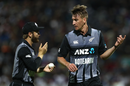 Blair Tickner has a chat with Kane Williamson, New Zealand v India, 3rd T20I, Hamilton, February 10, 2019