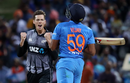 Mitchell Santner celebrates the wicket of Vijay Shankar, New Zealand v India, 3rd T20I, Hamilton, February 10, 2019