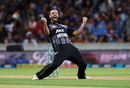 Daryl Mitchell celebrates a wicket, New Zealand v India, 3rd T20I, Hamilton, February 10, 2019