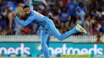 Krunal Pandya sends down his left-arm spin