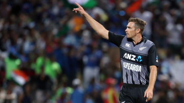 Tim Southee gestures at a fielder