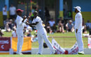 Kemar Roach takes the plaudits after the dismissal of Jonny Bairstow, West Indies v England, 3rd Test, St Lucia, 2nd day, February 10, 2019