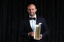 Nathan Lyon with Cricket Australia's Men's Test Player of the Year Award, Melbourne, February 11, 2019