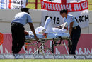 Keemo Paul is stretchered from the field after suffering a quadriceps injury, West Indies v England, 3rd Test, St Lucia, 3rd day, February 11, 2019