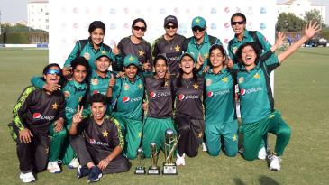 The victorious Pakistan women pose with the trophy after beating West Indies women for the first time in an ODI series