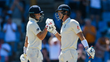 Joe Root congratulates Joe Denly on his maiden fifty