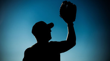 A wicketkeeper's gloves in silhouette