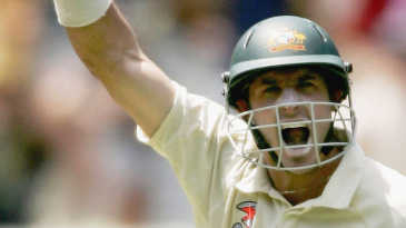 Michael Hussey celebrates his century against South Africa in the 2005 Boxing Day Test