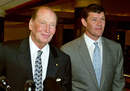 Kerry Packer and son James leave the PBL AGM in Sydney, Australia, Tuesday, Oct. 26, 2004