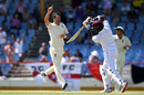 James Anderson celebrates taking the wicket of Darren Bravo, West Indies v England, 3rd Test, St Lucia, 4th day, February 12, 2019