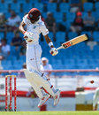 Roston Chase rides a short ball from Mark Wood, West Indies v England, 3rd Test, St Lucia, 4th day, February 12, 2019