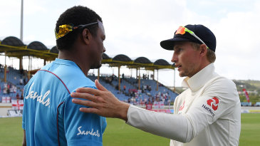 Joe Root and Shannon Gabriel shake hands at the end of the St Lucia Test