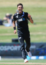 Trent Boult celebrates one of his early wickets, New Zealand v Bangladesh, 1st ODI, Napier