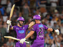 Matthew Wade and D'Arcy Short celebrate the 10-wicket win over Adelaide Strikers