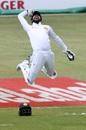 Niroshan Dickwella leaps in the air in celebration, South Africa v Sri Lanka, 1st Test, Durban, 1st day, February 13, 2019