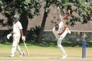 Shingi Masakadza in his follow through, Mountaineers v Mashonaland Eagles, Logan Cup 2018-19, Harare February 10, 2019