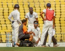 K Gowtham went off the field after suffering an injury, Vidarbha v Rest of India, Irani Cup 2018-19, 2nd day, Nagpur, February 13, 2019