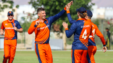 Captain Pieter Seelaar celebrates after his first wicket of the day