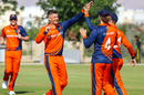 Captain Pieter Seelaar celebrates after his first wicket of the day, Netherlands v Scotland, Oman Quadrangular T20I Series, Al Amerat, February 13, 2019