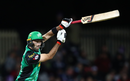 Glenn Maxwell loses his grip after driving the delivery, Hobart Hurricanes v Melbourne Stars, Big Bash League 2018-19, semi-final, Hobart, February 14, 2019