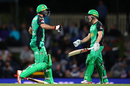 Glenn Maxwell and Seb Gotch celebrate the Melbourne Stars' victory, Hobart Hurricanes v Melbourne Stars, Big Bash League 2018-19, semi-final, Hobart, February 14, 2019