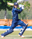 Michael Leask completes a lofted drive through cover, Netherlands v Scotland, Oman Quadrangular T20I Series, Al Amerat, February 13, 2019
