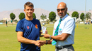 Tobias Visee accepts the Man of the Match award after scoring a half-century, Netherlands v Scotland, Oman Quadrangular T20I Series, Al Amerat, February 13, 2019