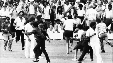 Fans run on to the field to celebrate Kapil Dev's catch to dismiss Viv Richards