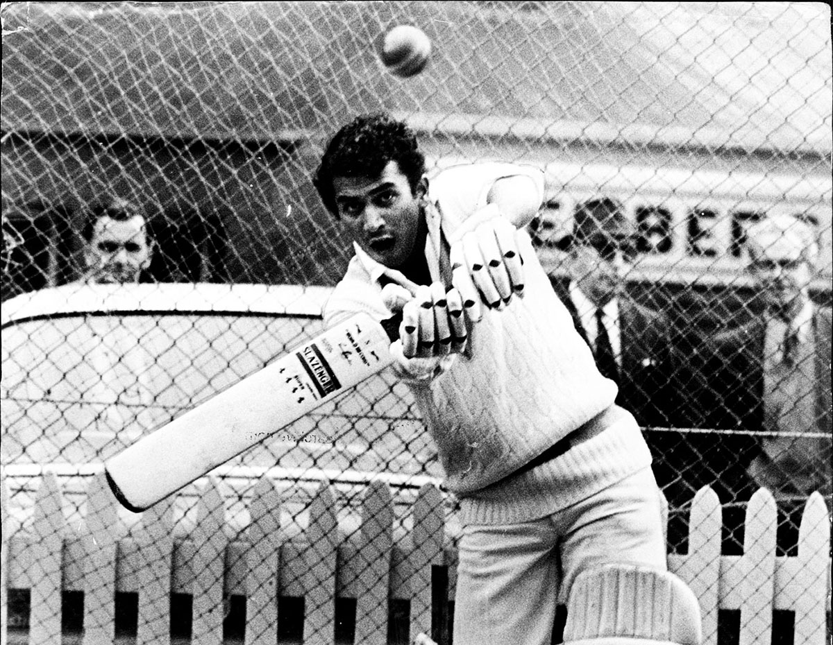 Sunil Gavaskar bats in the nets