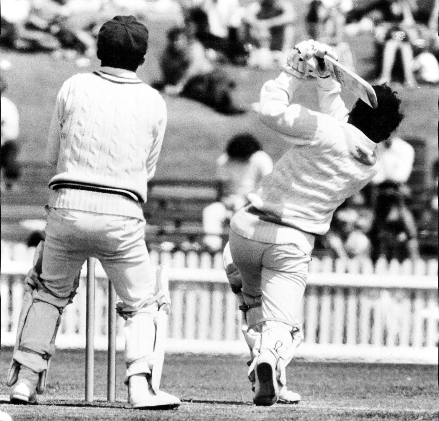Gavaskar sends the ball flying while playing for the World XI, 1971