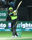 Sohail Akhtar holds his shape after playing a shot, Islamabad United v Lahore Qalandars, Pakistan Super League 2019, Dubai, February 14, 2019