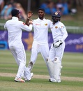 Lasith Embuldeniya celebrates with his team-mates, South Africa v Sri Lanka, 1st Test, Durban, 3rd day, February 15, 2019