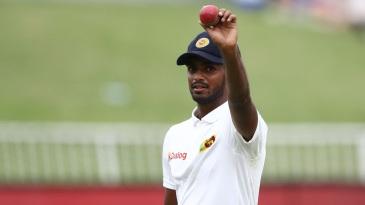 Lasith Embuldeniya celebrates his five-wicket haul