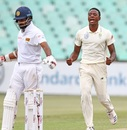 Kagiso Rabada sends Lahiru Thirimanne back, South Africa v Sri Lanka, 1st Test, Durban, 3rd day, February 15, 2019