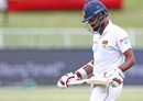 Lahiru Thirimanne walks back after being dismissed, South Africa v Sri Lanka, 1st Test, Durban, 3rd day, February 15, 2019