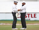 Richard Kettleborough and Aleem Dar check the light, South Africa v Sri Lanka, 1st Test, Durban, 3rd day, February 15, 2019