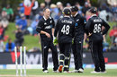 New Zealand convene after a Todd Astle wicket, New Zealand v Bangladesh, 2nd ODI, Christchurch, February 16, 2019