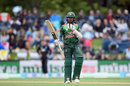 Mohammad Mithun raises his bat after getting to a half-century, New Zealand v Bangladesh, 2nd ODI, Christchurch, February 16, 2019