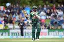 Mohammad Mithun raises his bat after getting to a half-century, New Zealand v Bangladesh, 2nd ODI, Christchurch, February 16, 2019