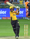 Misbah-ul-Haq muscles one into the on-side, Peshawar Zalmi v Quetta Gladiators, PSL 2019, Dubai, February 15, 2019